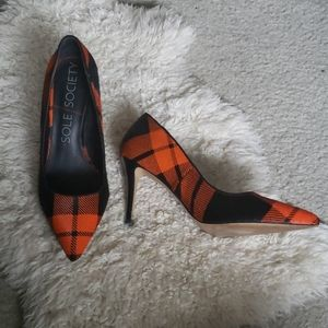 Sole Society calf hair plaid heels 6.5